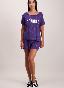 Navy Sparkle Shorty Pyjamas