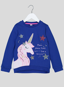Royal Blue Unicorn Sequinned Jumper (9 Months - 6 Years)