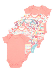 Girls Pink What A Hoot Bodysuit 5 Pack (0-24 months)