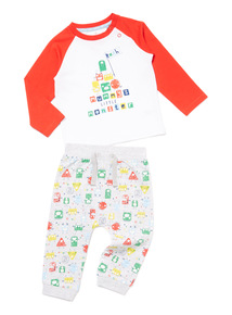 Multicoloured Monster Print Top and Joggers Set (0-24 months)