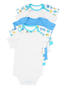 5 Pack Multicoloured Short Sleeve Bodysuits (Newborn - 36 months)