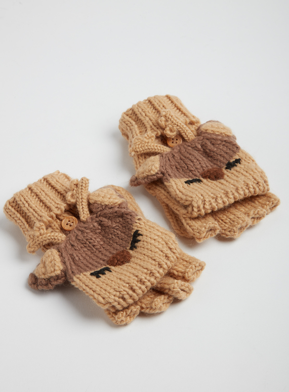 discount shop exquisite style online here Kids Christmas Brown Reindeer Flip-Down Mittens (3-13 years) | Tu ...