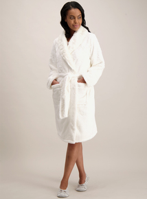Cream Faux Fur Dressing Gown