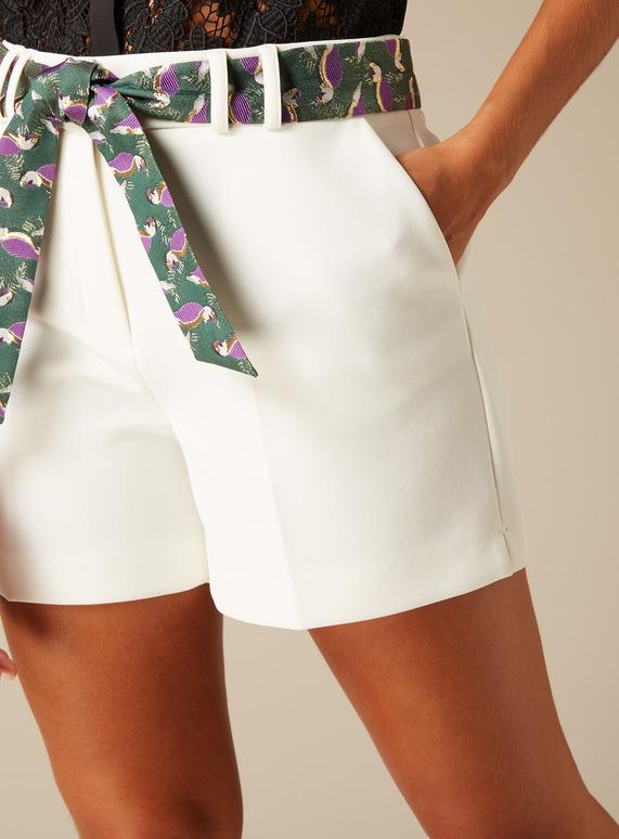Premium Bird Embroidered Belt Shorts