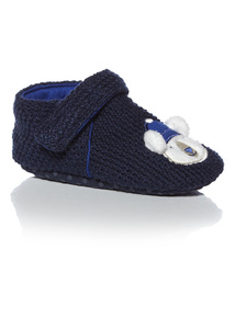 Boys Blue Pole To Pole Knitted Slipper (0-24 months)