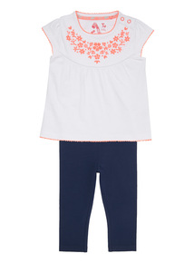 White Embroidered Tee And Jegging Set (0 - 24 months)