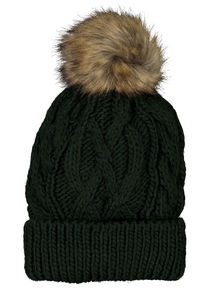 Green Cable Knit Hat With Pom Pom