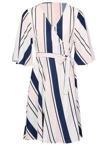 IZABEL Multi Pink Ruffle Sleeve Striped Wrap Dress