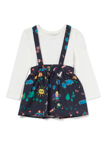 Multicoloured Print Top and Dungaree Skirt Set  (9 months-6 years)