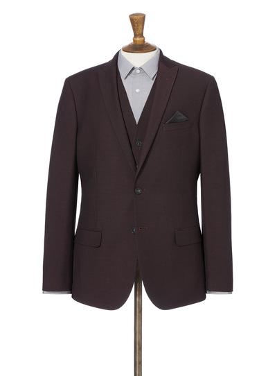 Burgundy Stretch Slim Fit Suit Jacket