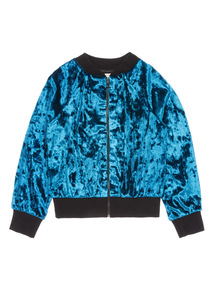 Girls Blue Velvet Bomber Jacket (3-12 years)