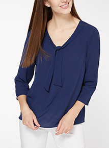 Navy Bow Front Textured Top