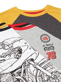 Multicoloured Bike Print Long Sleeve T-Shirts 3 Pack (3-14 Years)