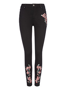Black Embroidered Skinny Jeans