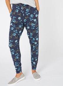 Navy Floral Print Draped Trousers