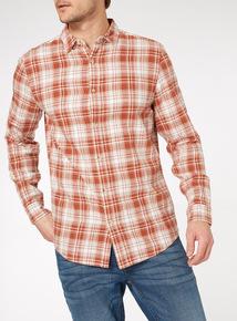 Orange Long Sleeve Check Shirt