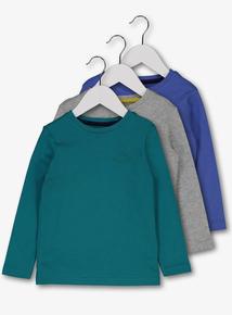 Multicoloured Dinosaur Motif Long Sleeve T-Shirt 4 Pack