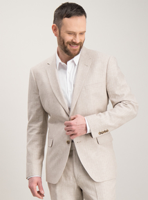 2dff46f735c Stone Herringbone Tailored Fit Linen Blend Suit Jacket