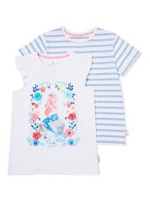 Multicoloured 2 Pack Mermaid T-Shirts (3-14 years)
