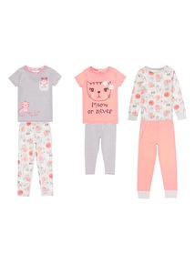 Grey Three Pack Mono Cat Pyjamas (1.5-12 years)
