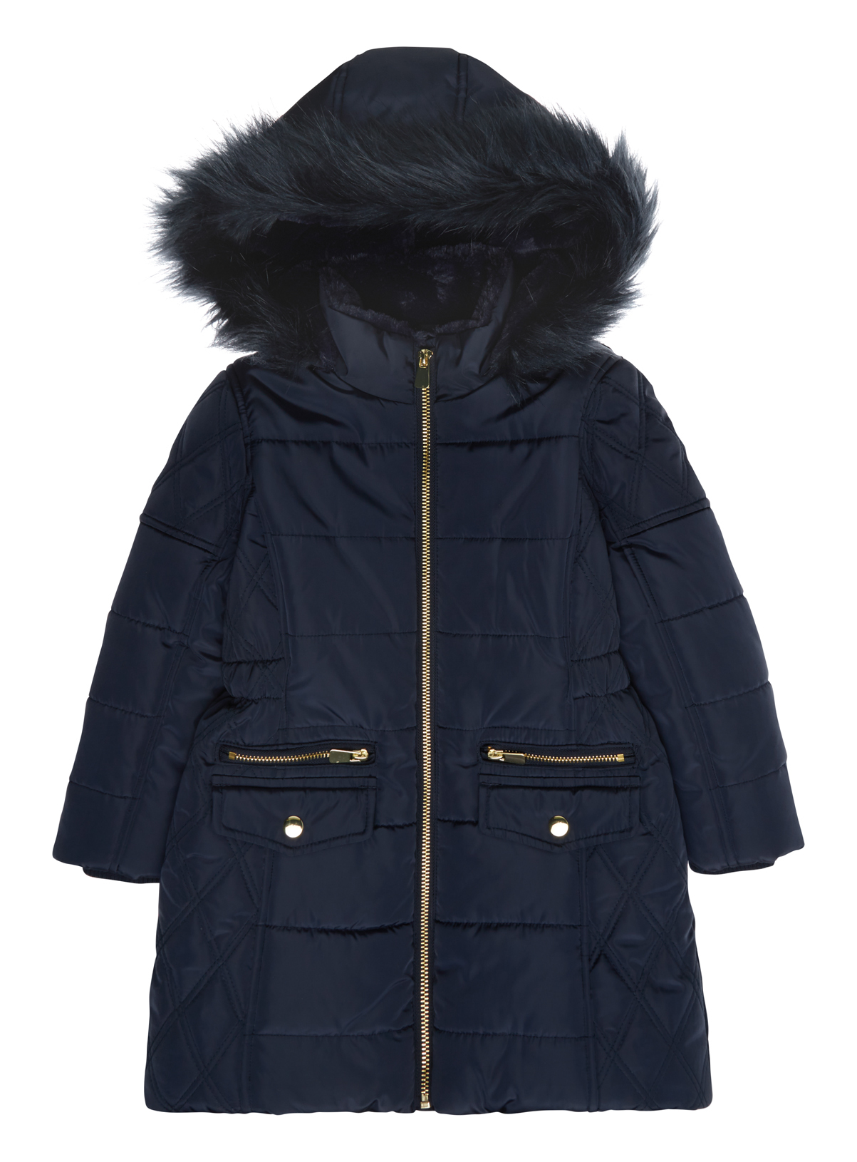 All Girl's Clothing Girls Navy Fur Lined Puffa Coat (3-16 years ...
