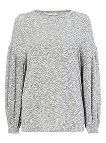 Grey Pearl Sleeve Knitlook Jumper