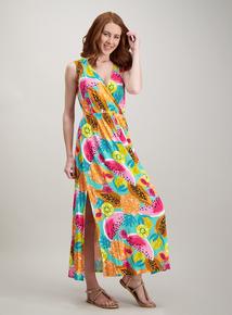 ceb6c18cd80 Multicoloured Fruit Print Wrap Front Maxi Dress