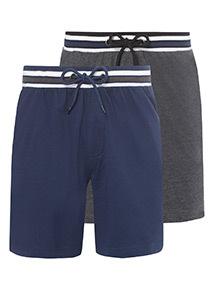 2 Pack Navy and Grey Pyjama Shorts