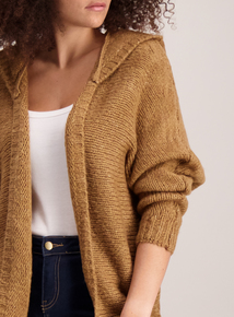 Brown Batwing Hooded Cardigan