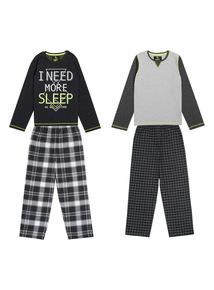 Kids Black Woven Leg Pyjamas 2 Pack