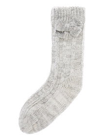 Bow Knit Sequin Socks