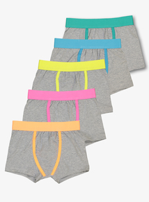 Grey Neon Trim Trunks With Stretch 5 Pack (3 - 14 years)