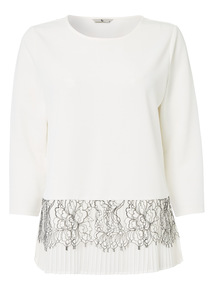 Cream Lace Pleat Top