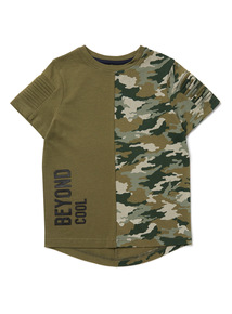 Khaki Spliced Camo Print 'Beyond Cool' T-Shirt (3-14 years)