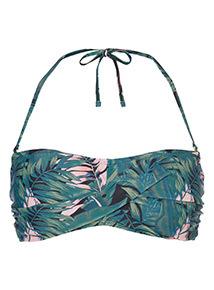Leaf Print Bikini Top