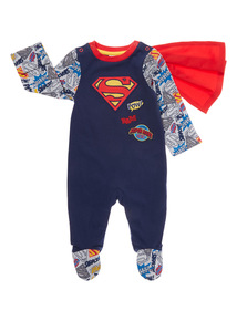 Boys Navy Superbaby Sleepsuit (0-12 months)