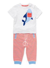 2 Piece Grey Shark T-Shirt and Joggers Set (0-24 months)