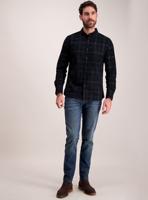 Green Check Corduroy Regular Fit Shirt