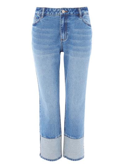 Hem Contrast Straight Jeans