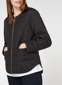 Black Collarless Quilted Jacket