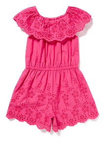 Pink Embroidered Woven Playsuit (9 months-6years)