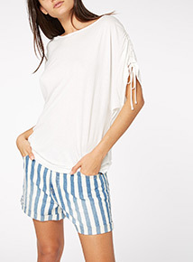 Cream Ruched Shoulder Tee