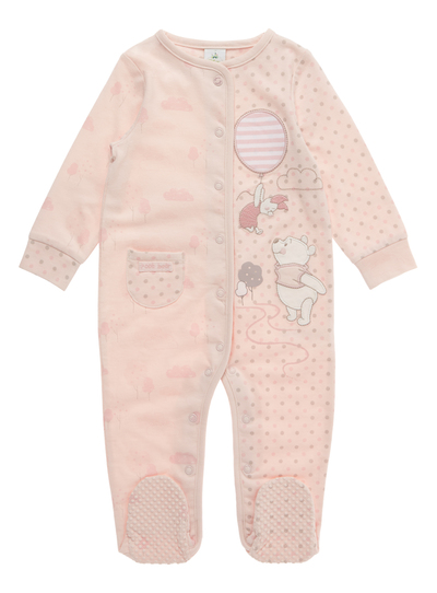 4102224a5c23 Baby Pink Winnie The Pooh sleepsuit