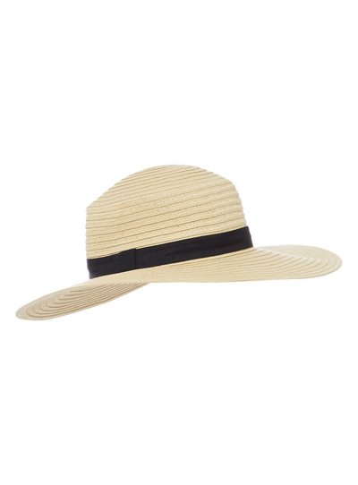 Natural Black Band Boater Hat