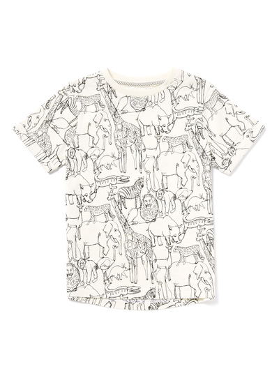 White Animal Printed T-Shirt (9 months-6 years)