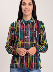 Multicoloured Geometric Print Long Sleeve Shirt