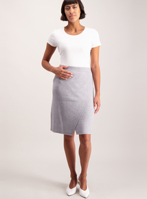 Grey Knitted Wrapover Skirt