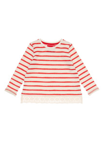 Girls Red Striped Lace Top (9 months-6 years)