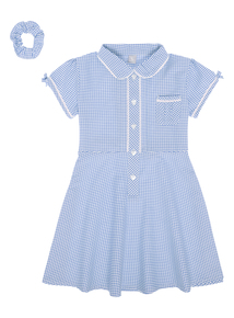 Girls Blue Classic Generous Fit Gingham Dress (3-12 years)
