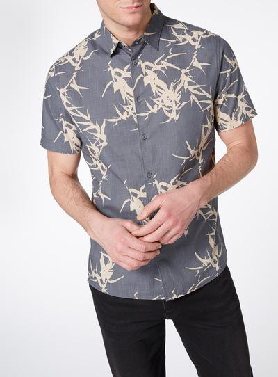 Grey Leaf Print Shirt